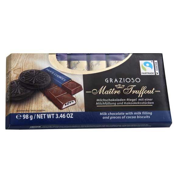 Melkchocolade met melkcrème en stukjes cacaokoekjes