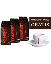 Kimbo koffiebonen prestige (3x1kg) + GRATIS tas