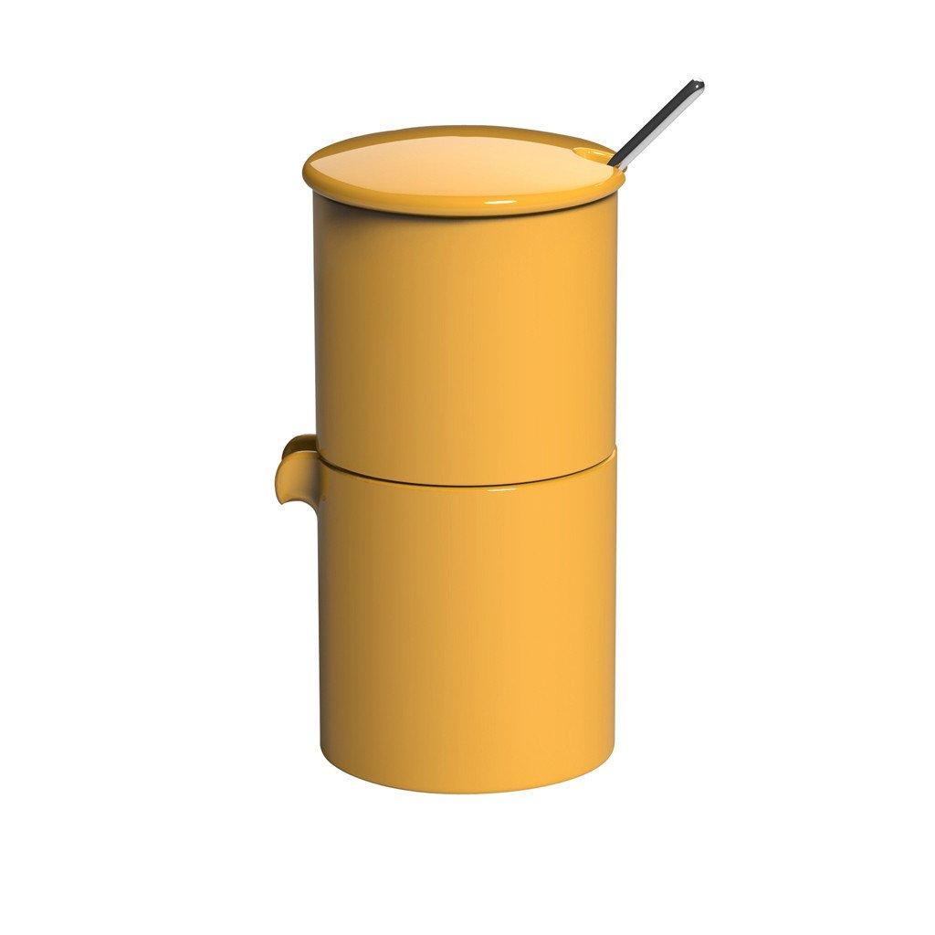 LOVERAMICS bond sugar & creamer + spoon set geel