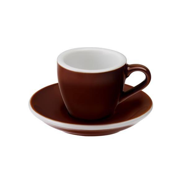 Loveramics egg espresso tas en ondertas (80ml) bruin