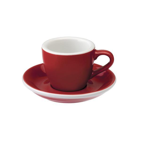 Loveramics egg espresso tas en ondertas (80ml) rood