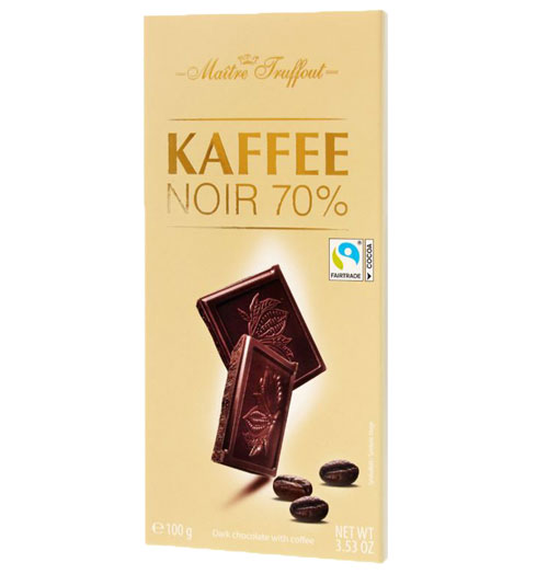 Pure chocolade met koffie (min. 70% cacao)